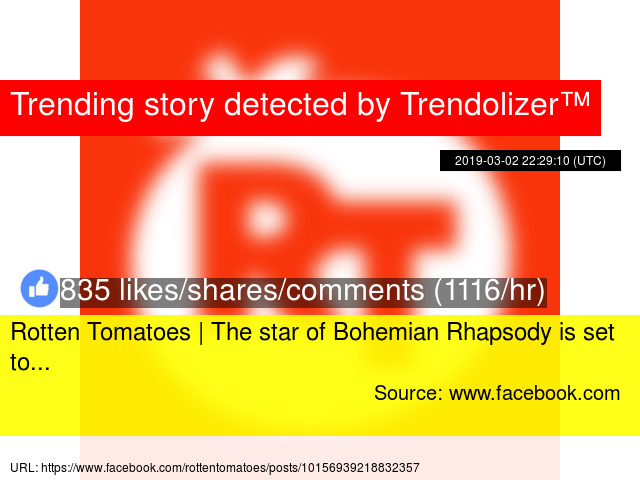 Rotten Tomatoes | The star of Bohemian Rhapsody is set to