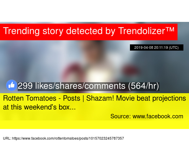 Rotten Tomatoes - Posts | Shazam! Movie beat projections at