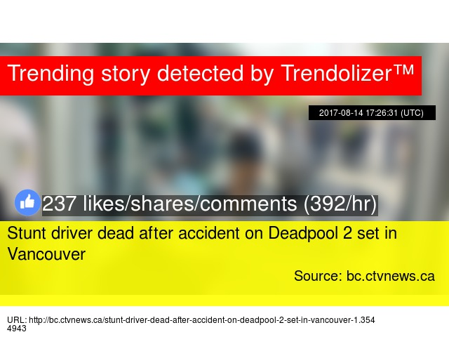 Stunt driver dead after accident on Deadpool 2 set in Vancouver